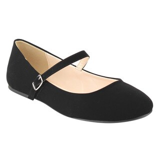 CityClassified Women's FE72 Plain Ankle Strap Mary Jane Ballet Flats
