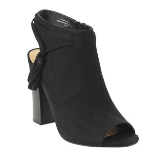 Bamboo EE41 Women's Faux Suede Tassel Open-toe Heel-high Stacked Ankle Booties
