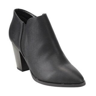 Delicious Women's FE76 Side Goring Stacked Block Heel Ankle Booties