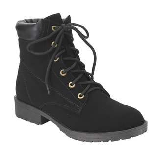Top Moda EC66 Women's Black Faux Suede Chunky-heel Lace-up Safety Work Ankle Boots