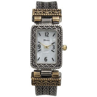 Olivia Pratt Women's Two-tone Metal Alloy Patterned Bangle Watch