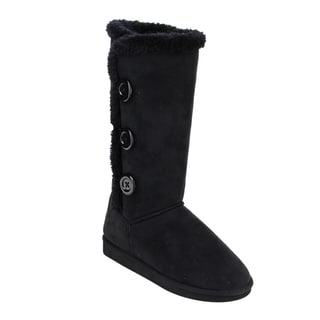 DBDK Women's Collar Button Pull-on Flat Under Knee Snow Boots