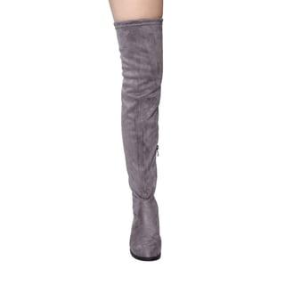 Beston GF59 Women's Drawstring Tie Low Heel Side Zipper Thigh-high Stretch Boots