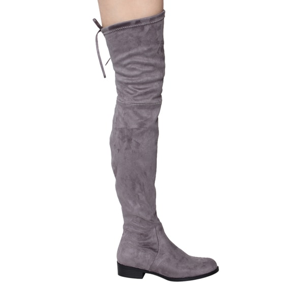 Women Over the Knee High Boots w// Drawstring Top Block Heel Black Taupe