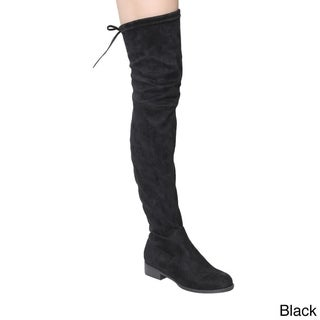 Beston GF59 Women's Drawstring Tie Low Heel Side Zipper Thigh-high Stretch Boots
