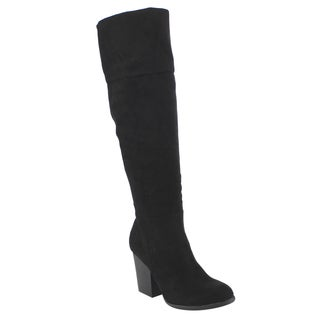 Bamboo ED40 Women's Over The Knee Zip Up High Chunky Block Heel Boots