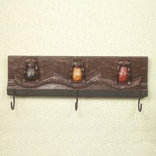 Handcrafted Sese Wood 'Three Wise Monkeys II' Coat Rack (Ghana)