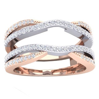 Elora 10k Two-tone Gold 1/2ct TDW Round-cut Diamond Wedding Band Enhancer Guard Double Chevron Ring (I-J,
