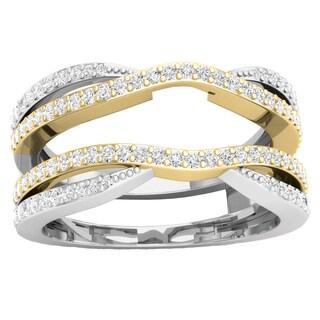 10k Two-tone Gold 1/2ct TDW Round Diamond Wedding Band Enhancer Guard Double Chevron Ring (I-J, I1-I2)