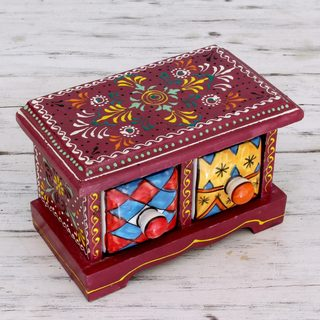 Handcrafted Mango Wood Ceramic 'Jaipuri Burgundy' Decorative Box with Drawers (India)