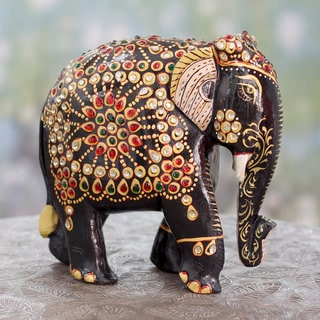 Handcrafted Kadam Wood 'Majestic Indian Elephant' Sculpture (India)