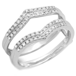 Elora 10k Gold 1/3ct TDW Round Diamond Anniversary Wedding Band Enhancer Guard Double Ring (H-I, I1-I2)