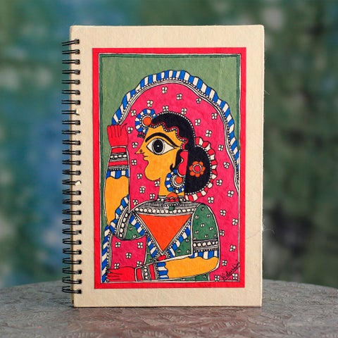 Handmade Paper 'New Bride' Madhubani Journal (India)
