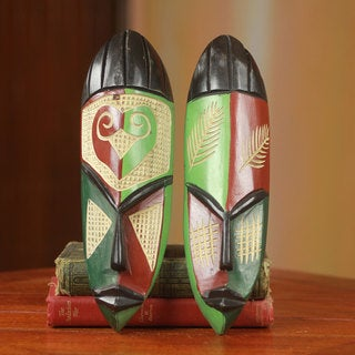Handmade Haboki Friendship Sese Wood Masks, Set of 2 (Ghana)