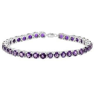 Elora Ladies' Sterling Silver 15-carat Round-cut Amethyst Tennis Bracelet