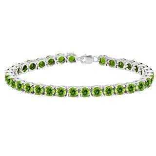 Ladies' Sterling Silver 15-carat Round-cut Green Peridot Tennis Bracelet