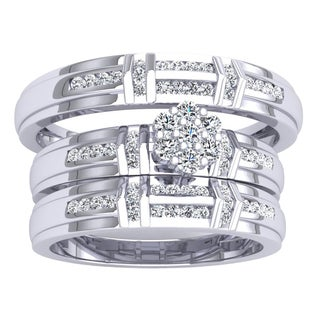 18K Gold 1/2ct TDW Round Diamond Men's & Women's Trio Bridal Ring Set