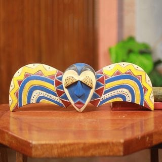 Handcrafted Sese Wood 'Bobo Butterfly' African Wall Mask (Ghana)