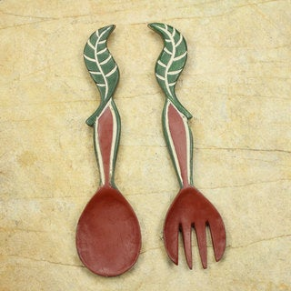 Set of 2 Handcrafted Sese Wood 'Nourishment' Wall Adornments (Ghana)