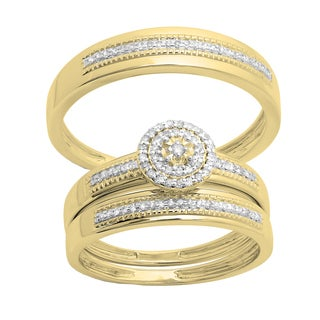 14k gold 14ct tdw round cut diamond cluster bride and groom trio wedding - His And Her Wedding Ring Sets
