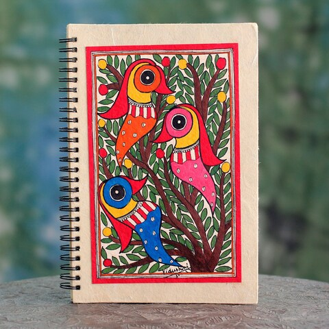 Handmade Paper 'Friendship' Madhubani Journal (India)