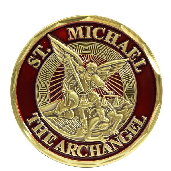 Red Metal St. Michael The Archangel Courage Commitment Honor Coin