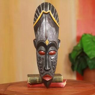 Handmade Sese Wood 'Amadi' Nigerian Wall Mask (Ghana)