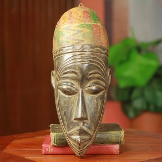 Handcmade Sese Wood 'Young Mossi Man' African Wall Mask (Ghana)