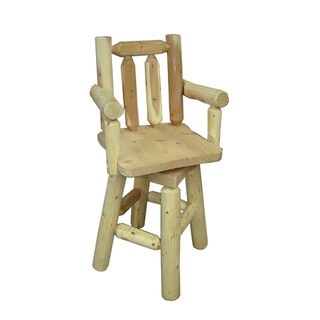 White Cedar Log Rustic Swivel Bar Stool with Arms
