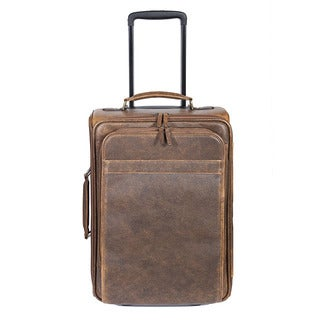 Scully Leather Brown Leather 18-inch Rolling Carry-on Suitcase