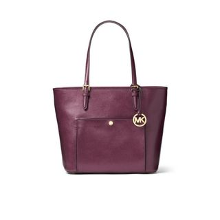 Michael Kors Jet Pack Plum Saffiano Leather Medium Snap Top-zip Tote Bag