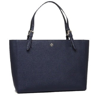 Tory Burch Women's York Navy Leather Buckle Tote Bag