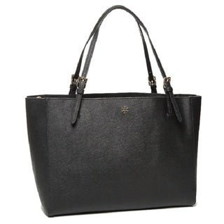 Tory Burch York Buckle Black Leather Tote Bag