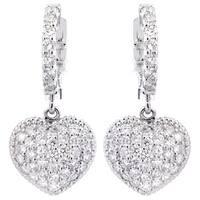 14k White Gold 1 1/3ct TDW Diamond Heart Dangle Earrings