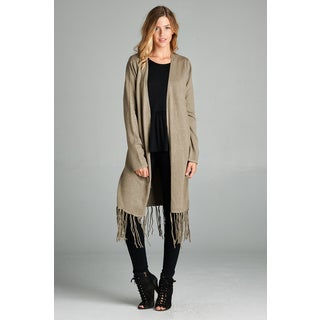 Spicy Mix Women's Karlee Grey/Off-white/Brown Long-sleeved Fringed Hem Extra-long Open-front Cardigan