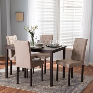 Baxton Studio Melissa Modern and Contemporary 5-Piece Dark Brown Finished and Fabric Upholstered Dining Set