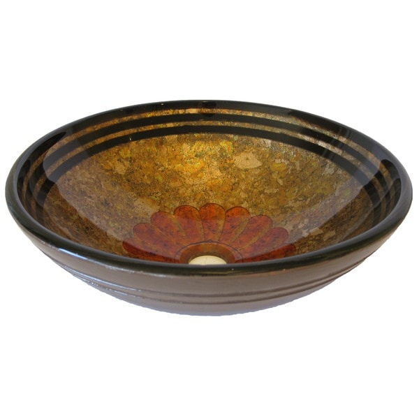 Novatto Tappezzeria Oil-rubbed Bronze Glass Vessel Bathroom Sink Pack