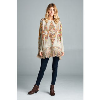 Spicy Mix Diya Beige Tribal-knit Long-sleeve Ribbed-cuff Fringe Poncho Sweater