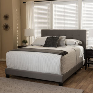 baxton studio karpos modern upholstered grid tufting bed