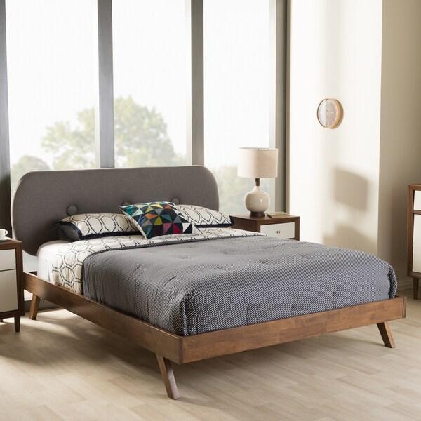 baxton studio pandora midcentury modern upholstered platform bed - Upholstered Platform Bed