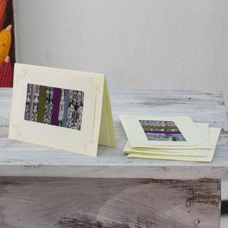 Set of 4 Handmade Paper Reed 'Maya Blues' Greeting Cards (Guatemala)