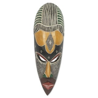 Handcrafted Sese Wood 'Obla Nuu' African Mask (Ghana)