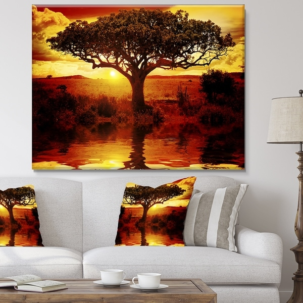28 x 60 x 2 Designart PT12295-60-28 Lonely Tree Sunset-Oversized African Landscape Canvas Art