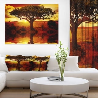 Lonely Tree in African Sunset - Oversized African Landscape Canvas Art - YELLOW