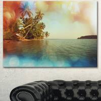 Serene Tropical Beach with Palms - Seashore Canvas Art Print