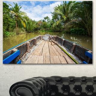 Boat in Mekong River Vietnam - Oversized Landscape Canvas Art