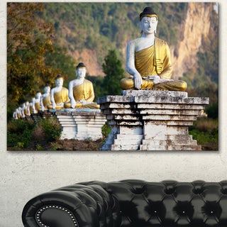 Beautiful Row of Buddha Statues - Oversized Landscape Canvas Art - GOLD