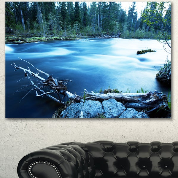 Beautiful Blue River in Forest - Oversized Landscape Canvas Art