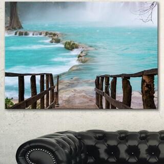 Old Bridge into Mexico Waterfall - Large Seashore Canvas Art