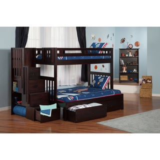Cascade Staircase Bunk Bed Twin over Full with Drawers in Espresso